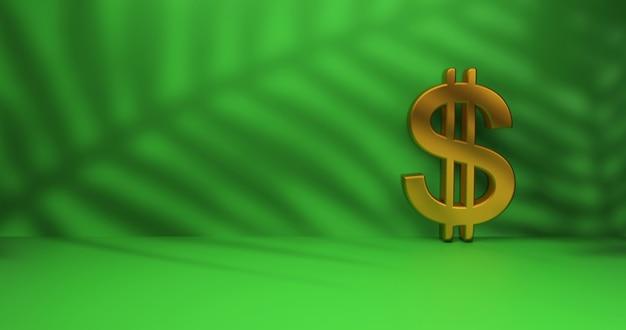 Segno del dollaro d'oro su sfondo verde studio. rendering 3d