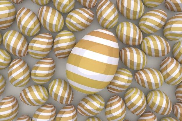 Uova d'oro uno sfondo di pasqua. rendering 3d