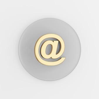 Icona di simbolo di posta elettronica d'oro. tasto rotondo grigio rendering 3d, elemento dell'interfaccia utente ux dell'interfaccia.