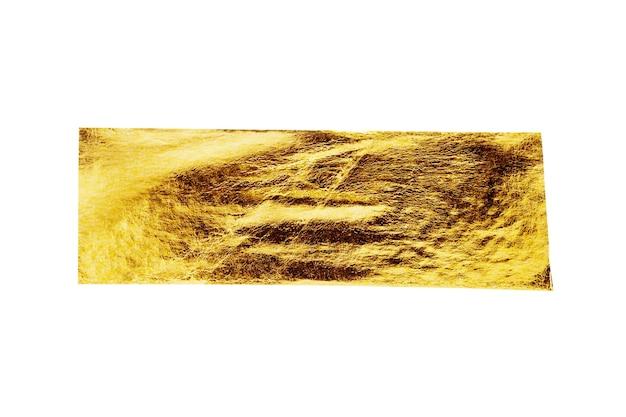 Nastro adesivo in lamina d'oro isolato su sfondo bianco
