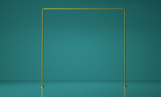 Esposizione del prodotto con montatura in oro. concetto di lusso. fondo geometrico astratto, rappresentazione 3d