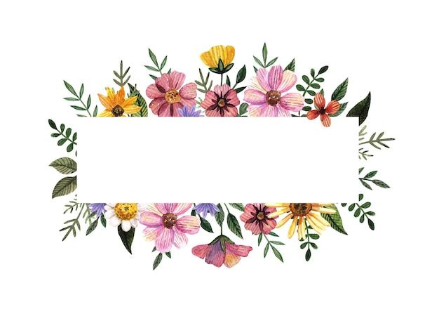 Cornice in oro con fiore pressato e secco ad acquerello su fondo bianco. modello per cerimonia di matrimonio, biglietto d'invito minimo, banner estivo decorativo
