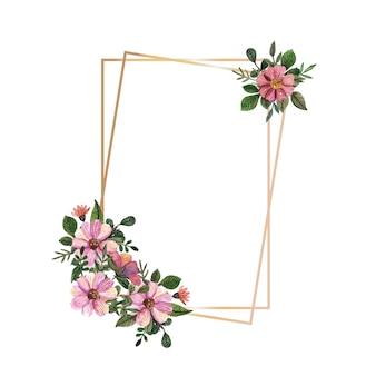 Cornice in oro con fiori pressati e secchi ad acquerello su fondo bianco.