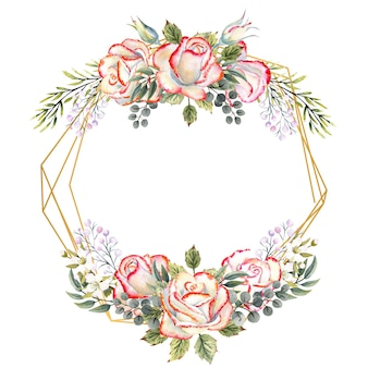 Cornice geometrica dorata con un mazzo di rose bianche con foglie, ramoscelli decorativi e bacche su sfondo bianco isolato. illustrazione ad acquerello per loghi, inviti, biglietti di auguri, ecc.