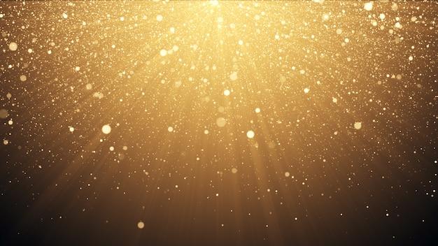 Fondo di scintillio dell'oro con l'illustrazione di effetto 3d dei coriandoli della luce di lustro della scintilla