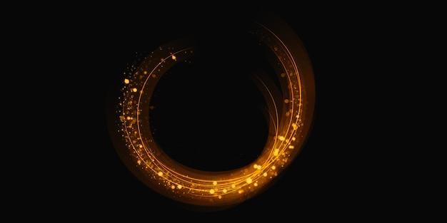 Illustrazione 3d di polvere di stelle scintillanti effetto luce di turbinio astratto del cerchio di scintillio dell'oro