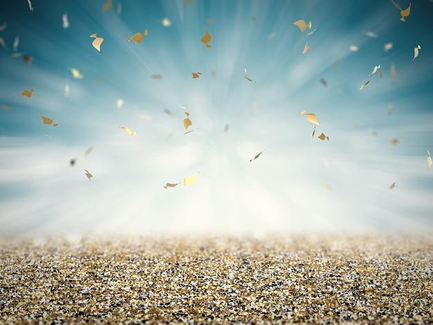 Pavimento glitter oro con coriandoli su sfondo blu