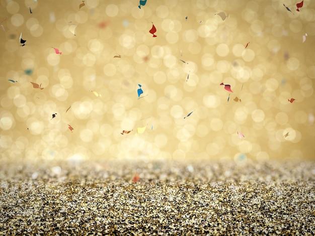 Pavimento glitter oro con coriandoli su fondo oro