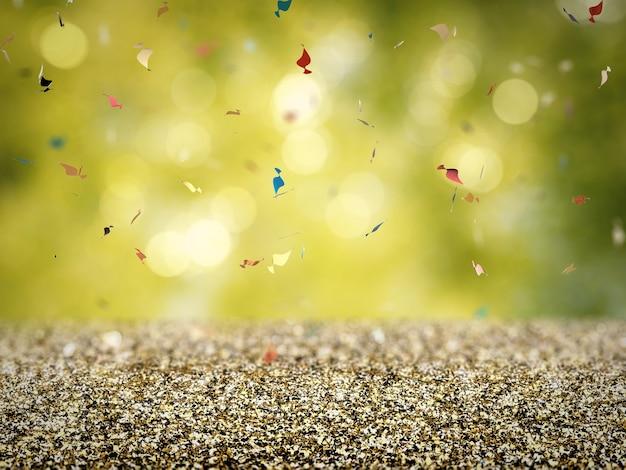 Pavimento glitter oro con coriandoli su sfondo verde