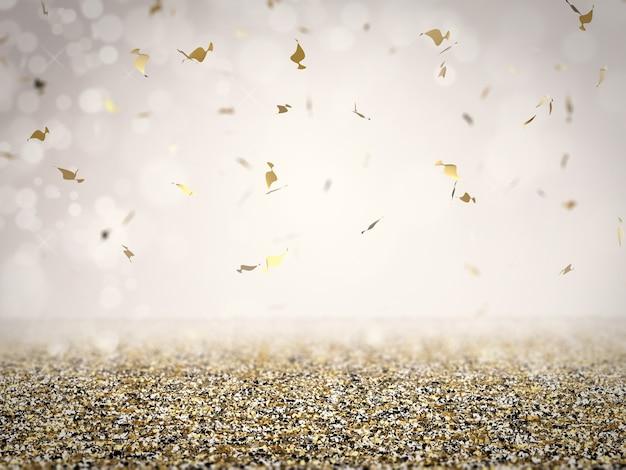 Pavimento glitter oro con coriandoli su sfondo grigio