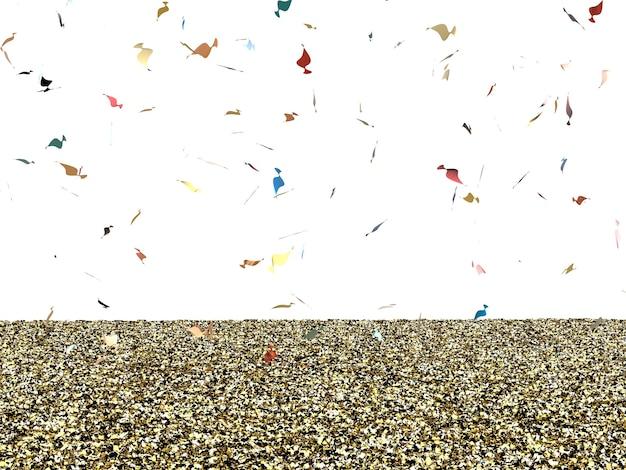 Pavimento glitter oro con coriandoli su sfondo bianco