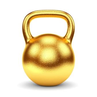 Campana del bollitore del peso della palestra dell'oro isolata su fondo bianco.