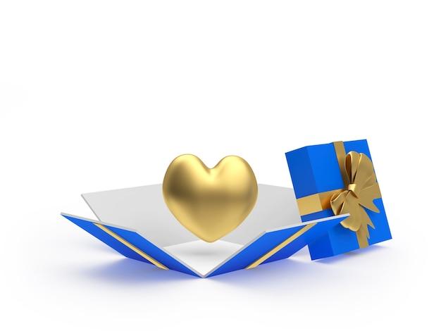 Icona del cuore d'oro in confezione regalo aperta
