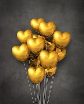 Gruppo di palloncini d'aria a forma di cuore d'oro su uno sfondo scuro di cemento. illustrazione 3d render
