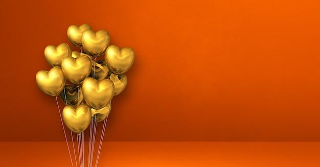 Mazzo di palloncini a forma di cuore d'oro sul fondo arancio della parete. banner orizzontale. rendering di illustrazione 3d