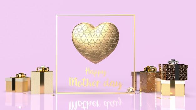 Il cuore e il testo dell'oro per il rendering 3d di concetto di festa della mamma felice