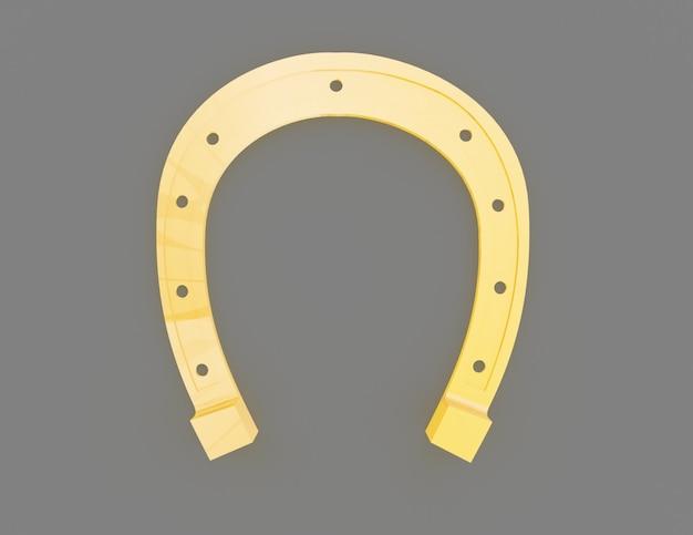 Concetto di ferro di cavallo d'oro. 3d reso illustrazione