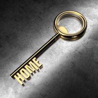 Chiave d'oro con home word su sfondo di metallo. illustrazione della rappresentazione 3d.