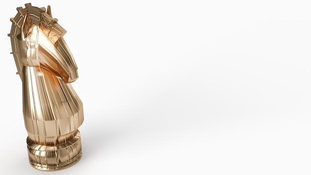 Rappresentazione di scacchi 3d del cavaliere dell'oro sul fondo bianco per il contenuto di affari.