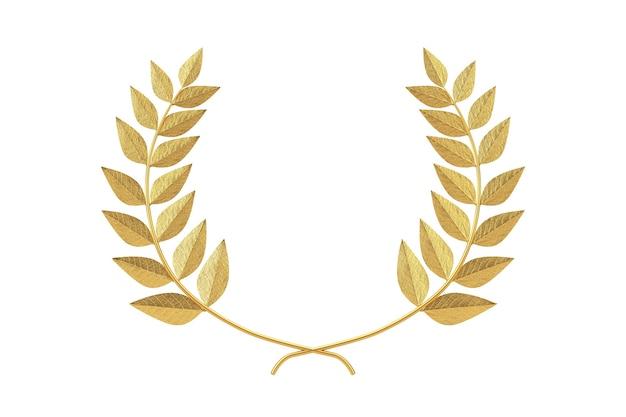 Premio del vincitore della corona di alloro d'oro su sfondo bianco. rendering 3d
