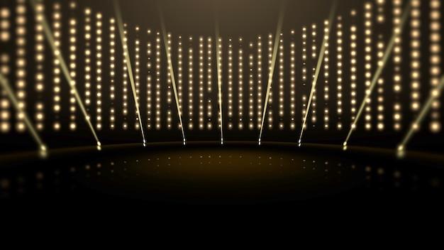 Luci e palcoscenico d'oro, sfondo astratto. stile dinamico elegante e lussuoso per l'illustrazione 3d dei premi