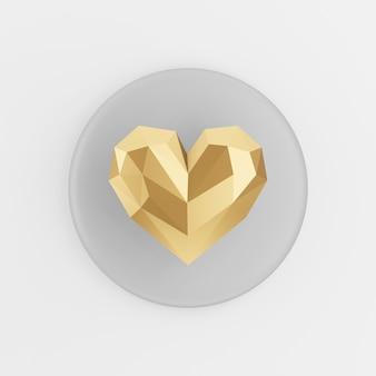 Icona del cuore poli basso oro. pulsante chiave tondo grigio rendering 3d, elemento dell'interfaccia utente ux.