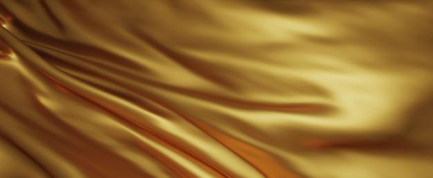 Rendering 3d di sfondo in tessuto di lusso oro