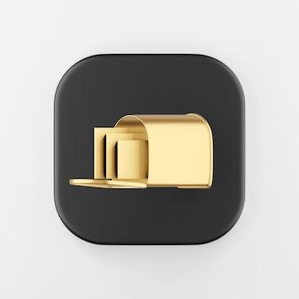 Icona della cassetta postale d'oro con lettere. rendering 3d del pulsante chiave quadrato nero, elemento dell'interfaccia ui ux.