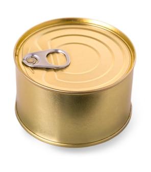 Barattolo di latta del metallo dell'oro isolato su priorità bassa bianca.