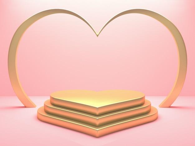 Podio cuore metallico oro su sfondo rosa. buon san valentino e concetto di matrimonio. rendering 3d