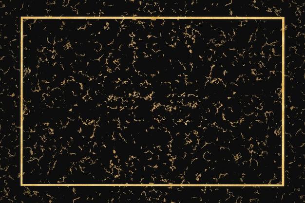 Fondo interno di lusso del bordo dorato di marmo scuro e minerale dell'oro