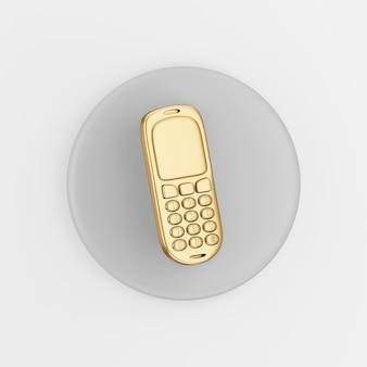 Icona del telefono cellulare d'oro. pulsante chiave tondo grigio rendering 3d, elemento dell'interfaccia utente ux.