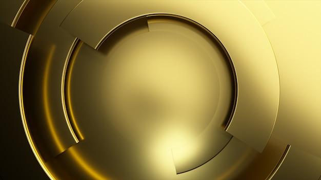 Sfondo video di affari moderni d'oro. parti rotanti di un cerchio.