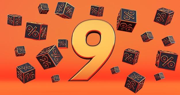 Oro nove 9 percento numero con percentuali di cubi neri volano su uno sfondo arancione. rendering 3d