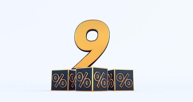 Oro nove 9 percento numero con percentuali di cubi neri isolati su sfondo bianco. rendering 3d
