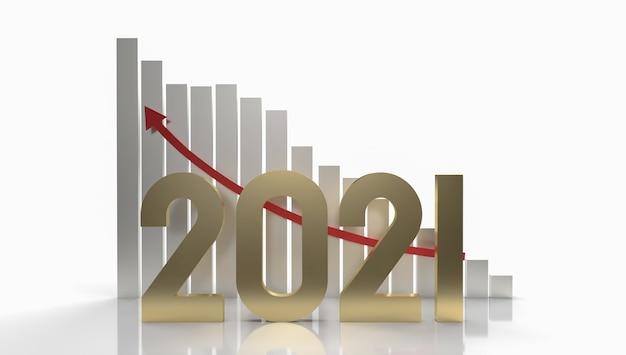 Il numero d'oro 2021 e la freccia del grafico in alto per il rendering 3d dei contenuti aziendali.