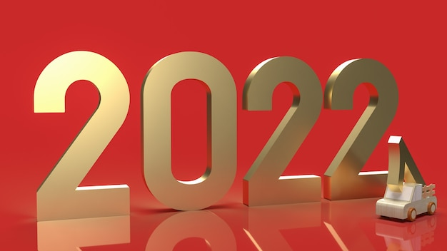 Il numero d'oro 2022 su sfondo rosso per il rendering 3d di concetto di nuovo anno.