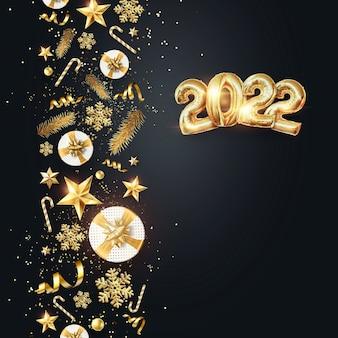 Numeri d'oro 2022 da palloncini in lamina d'oro. buon anno. design moderno su sfondo scuro. modello di progettazione, intestazione per il sito, poster, biglietto di capodanno. illustrazione 3d, rendering 3d.