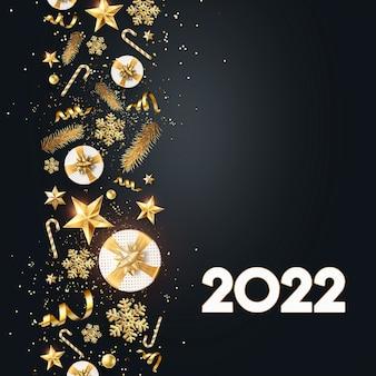 Numeri d'oro 2022 lusso, vip su sfondo scuro. buon anno. design moderno, modello, intestazione per il sito, poster, biglietto di capodanno, volantino. illustrazione 3d, rendering 3d.
