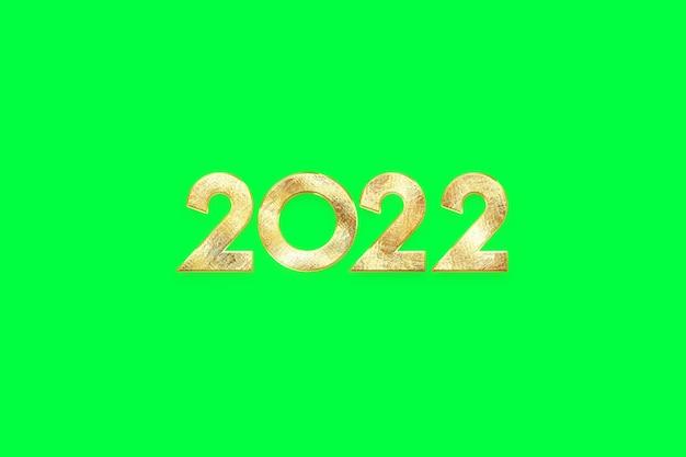 Numeri d'oro 2022 lusso, vip su sfondo verde, isolare. buon anno. design moderno, modello, intestazione per il sito, poster, biglietto di capodanno, volantino. illustrazione 3d, rendering 3d.