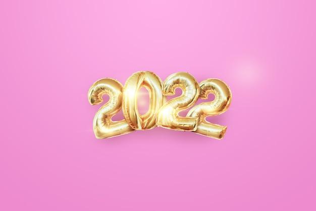 Numeri d'oro 2022 lusso, vip su sfondo chiaro. buon anno. design moderno, modello, intestazione per il sito, poster, biglietto di capodanno, volantino. illustrazione 3d, rendering 3d.