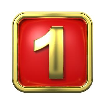 Numeri d'oro nel telaio, su sfondo rosso. numero 1