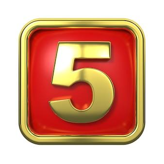 Numeri d'oro nel telaio, su sfondo rosso. numero 5