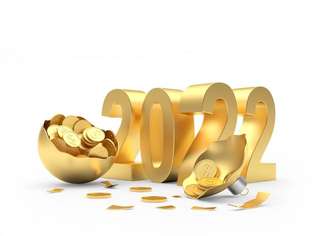 Numeri d'oro del nuovo anno con una palla di natale rotta piena di monete