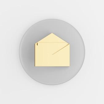 Icona di posta elettronica aperta d'oro in stile piano. tasto rotondo grigio rendering 3d, elemento dell'interfaccia utente ux dell'interfaccia.