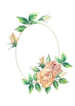 Cornice ovale in oro con rose ad acquerelli