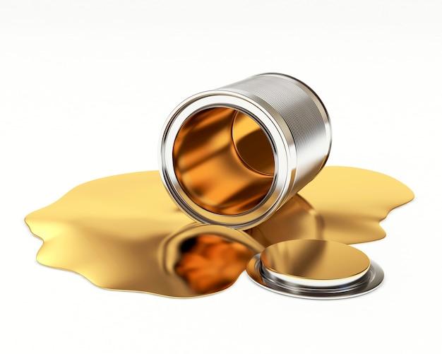 Vernice dorata fuoriuscita da un barattolo di metallo aperto