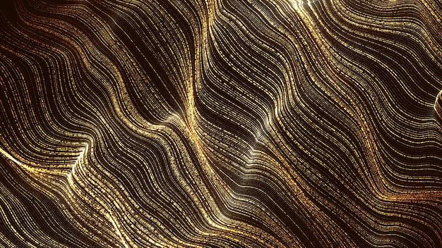Sfondo astratto di flusso d'onda digitale di particelle d'oro