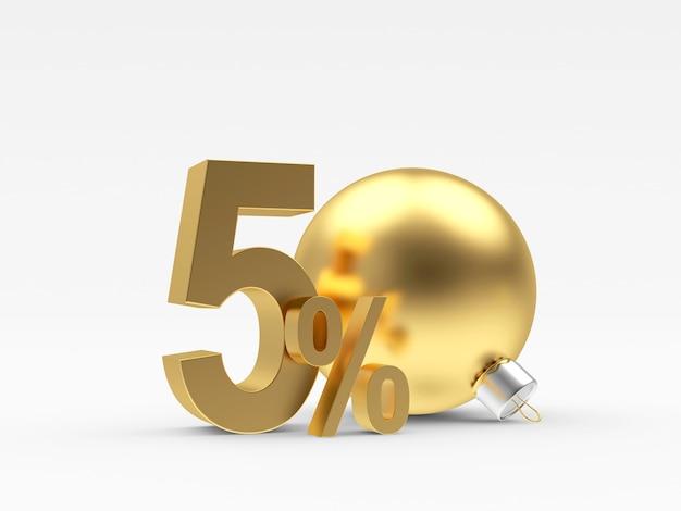 Sconto percentuale dell'oro accanto a una palla di natale
