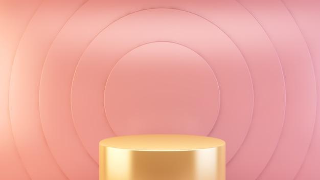 Piattaforma d'oro su sfondo rosa astratto per la presentazione del prodotto rendering 3d
